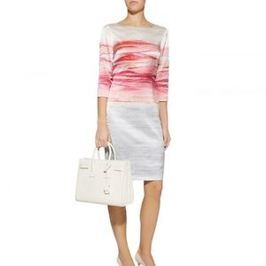 St. John Textured Brush Stroke Bright Coral Dress